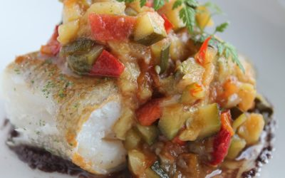 Fish with Ratatouille & Chickpea Mash