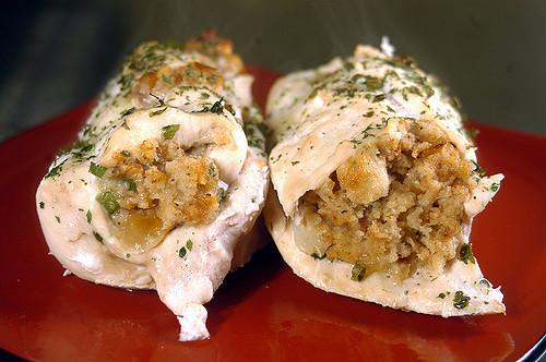 Chicken Breast stuffed with Feta & Pumpkin Risotto