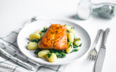 Salmon with Spinach, Bean Shoots & Potatoes