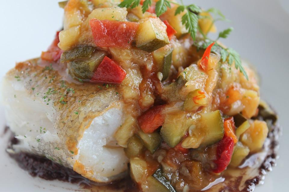 Fish with Ratatouille & Chickpea Mash